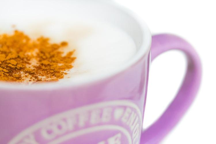 Kaffeetasse mit Milchschau und Zimt, freigestellt